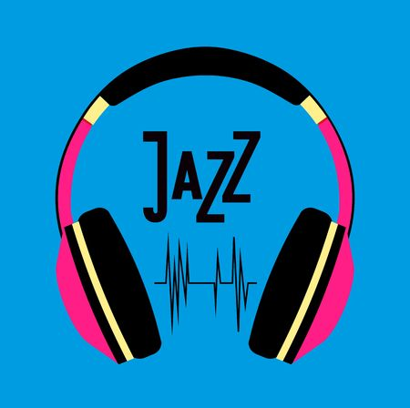 beat brochure: vector illustration background music of jazz and blues music headphones