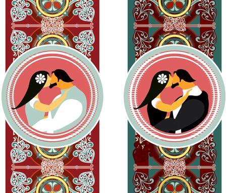 innamorati che si baciano: stilizzato vector seamless in stile gotico con gli amanti del telaio e baciare Vettoriali
