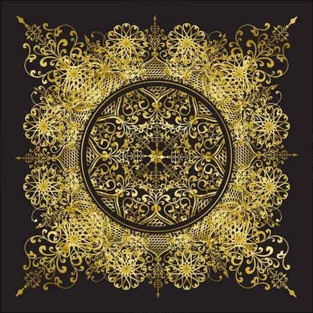 Decoratieve vector patroon gouden kantpatroon op een zwarte achtergrond Vector Illustratie