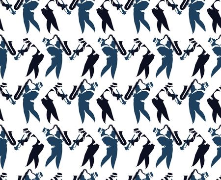 jive: vector illustration seamless wallpaper on the theme music, musicians silhouettes
