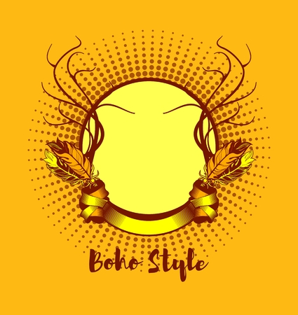 gypsy: frame in tribal gypsy style with Boho elements, feathers and horns