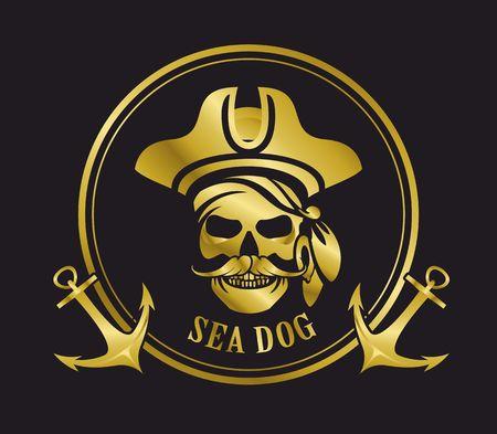 crâne emblème noir et blanc mer pirate or