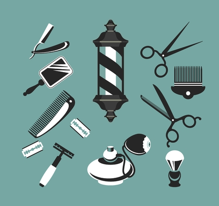 haircutting: set of items for the barber shop on a blue background Illustration