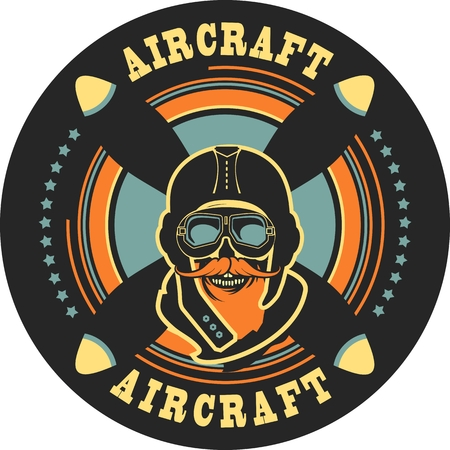 airman: emblem in retro style on a background of a dead pilot propeller aircraft, a skull wearing a helmet