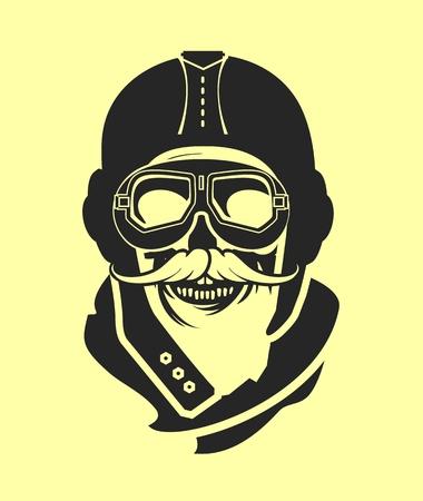 kamikaze: Dead pilot image of skull in helmet poster black and white