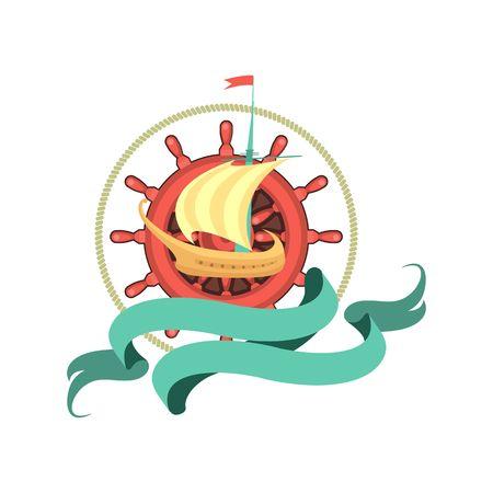 timon barco: emblema marina sobre un fondo blanco tim�n barco de vela