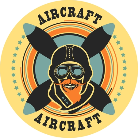 airman: Vector emblem in retro style on a background of a dead pilot propeller aircraft, a skull wearing a helmet Illustration