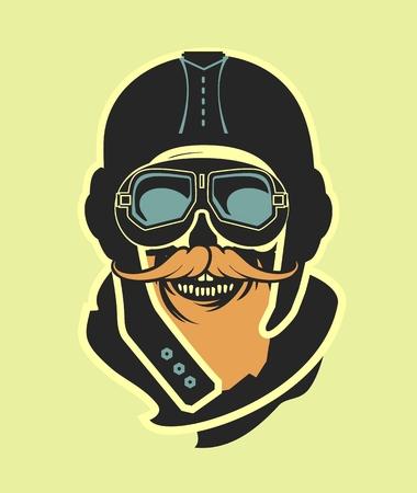 kamikaze: Dead pilot vector image of skull in helmet poster black and white