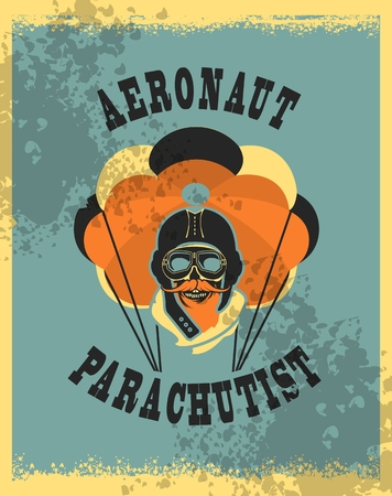 skydiver: Vector illustration in retro style skull dead parachutist in helmet pilot parachute should be grunge head