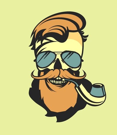 vector image of a dead man human skull with glasses and beard and a pipe Illustration