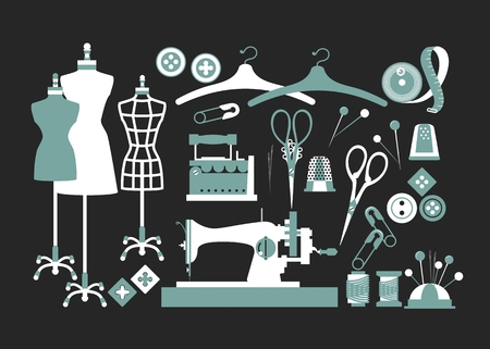 couture: set of isolated vector elements for sewing and Couture Illustration