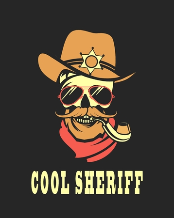 steep by steep: vector emblem steep dead sheriff skull in retro style Illustration