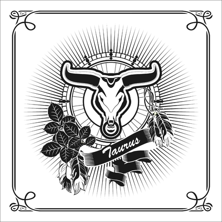 vedic: illustration zodiac sign Taurus emblem vintage frame with feathers black and white