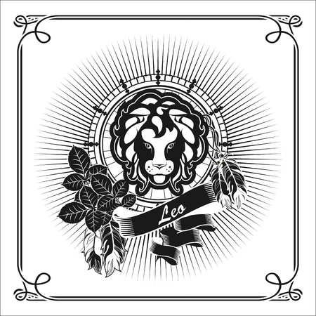 angry sky: astrological sign Leo, on the rectangle in vintage style lisyah rose with black and white banners
