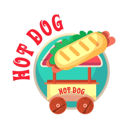 hotdogs: illustration mascot mobile street food cart with hamburgers and hotdogs