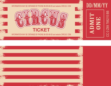 illustration of the tickets for the circus, and the two sides of the tear