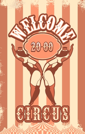 showgirl: illustration of vintage circus posters on striped background with space for text decorated with circus tents and two circus artistes in suits
