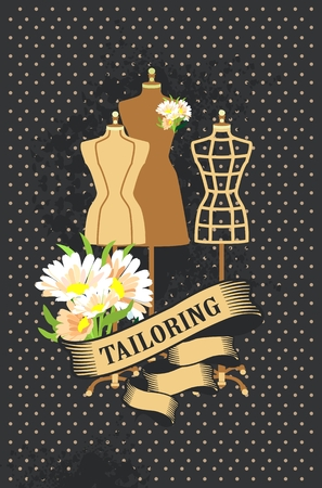 illustration retro poster advertising couture mannequins 版權商用圖片 - 57412066