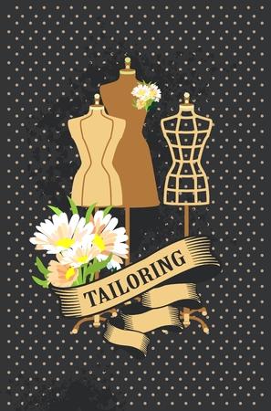 illustration retro poster advertising couture mannequins Illustration