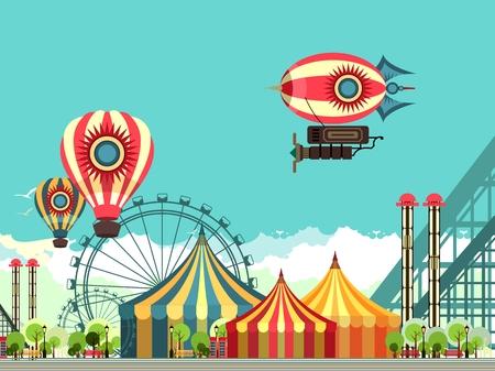 ilustración vectorial carnaval circo tienda de campaña en el parque de atracciones de la naturaleza zona de estar