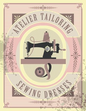 ilustración vectorial cartel retro taller de costura confección representa una vieja máquina de coser para
