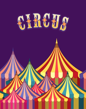 awnings: vector illustration carnival circus tent poster board bright picture of awnings