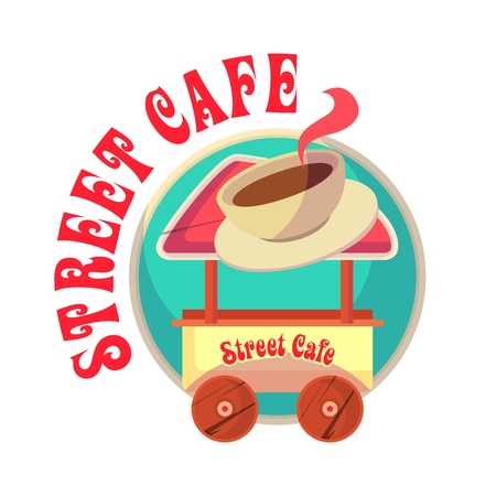 bogie: vector illustration mascot mobile street food truck hot drinks coffee