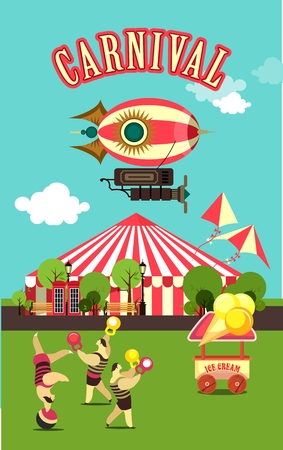 clearing: vector illustration carnival circus tent on the nature seating area amusement park in a clearing circus act Illustration