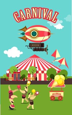 illustration vectorielle tente carnaval de cirque sur le parc d'attractions nature coin salon dans un acte de compensation de cirque