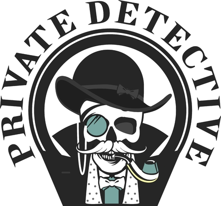 spotter: vector illustration of a skull with a pipe and a private investigator hat on a white background