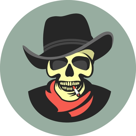 cool dude: vector skull emblem Trilby hat with a cigarette in his mouth retro style