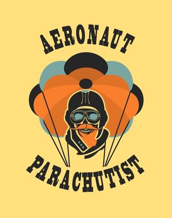should: Vector illustration in retro style skull dead parachutist in helmet pilot parachute should be  head Illustration