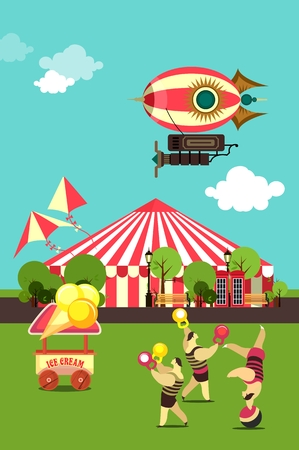 seating: vector illustration carnival circus tent on the nature seating area amusement park in a clearing circus act Illustration