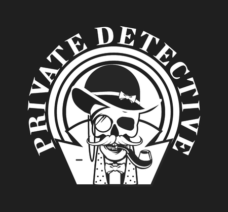 private investigator: vector illustration of a skull with a pipe and a private investigator hat on black and white