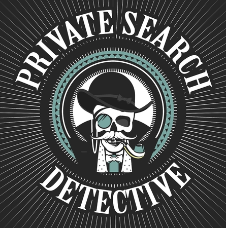 vector illustration of a skull with a pipe and a private investigator hat