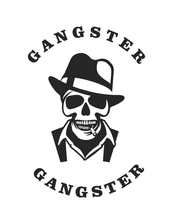 cool dude: vector skull emblem Trilby hat with a cigarette in his mouth retro style black and white emblem