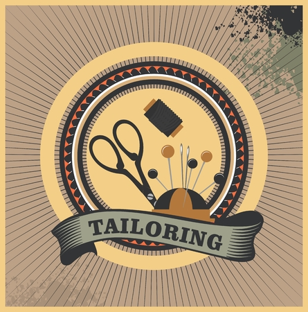 tailoring: vector illustration retro emblem atelier tailoring clothes with a dummy poster
