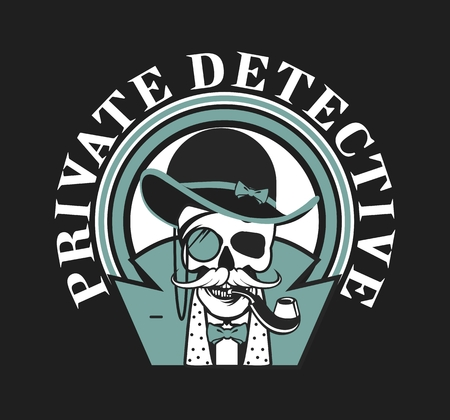 private investigator: vector illustration of a skull with a pipe and a private investigator hat