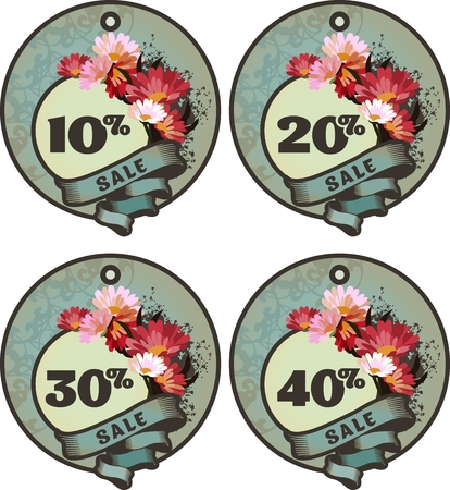 percentages: vector set of vintage tags for discounts with different percentages in vintage style with beautiful flowers