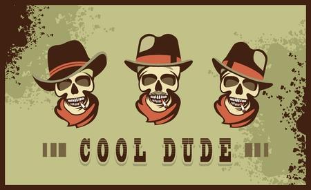 cool dude: set Totenkopf skull in different hats retro cool dude