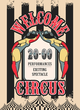 cabaret stage: Vector illustration of vintage circus posters on striped background with space for text decorated with circus tents and two circus artistes in suits