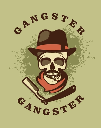 cartoon gangster: vector illustration of a skull wearing a hat in a retro style with a straight razor emblem
