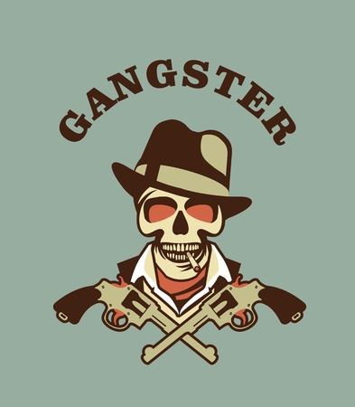 cartoon gangster: vector gangster emblem with two Colts retro style Illustration
