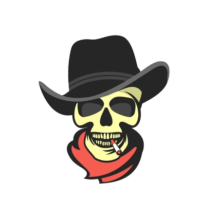 mafioso: vector skull emblem Trilby hat with a cigarette in his mouth retro style