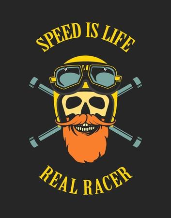 motorcyclist: vector emblem retro motorcyclist old skull in a motorcycle helmet on a black background