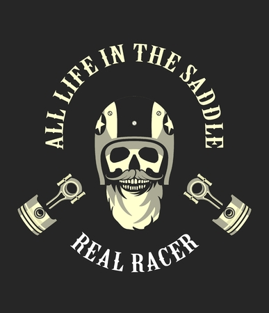motorcyclist: vector emblem retro motorcyclist old skull in a motorcycle helmet on a gray black white
