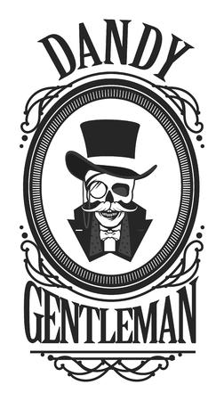 illustration vectorielle d'un crâne portant un gentilhomme cylindre de chapeau dans un cadre vintage noir et blanc