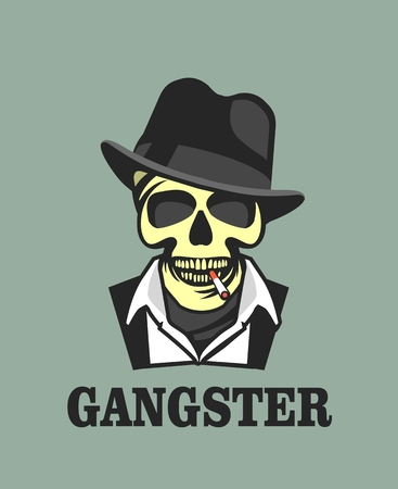 gangsta: vector skull emblem Trilby hat with a cigarette in his mouth retro style