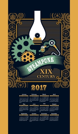 stove pipe: Calendar 2017 mechanical steam punkmechanical oil lamp Illustration