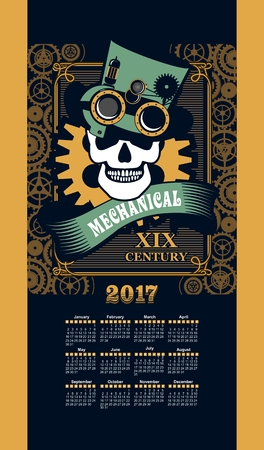 inventor: Calendar 2017 mechanical steam punk the inventor of a skull wearing a hat and sunglasses